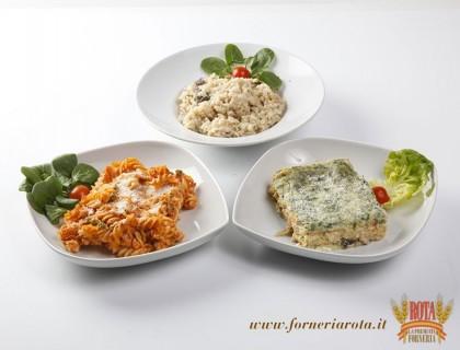 Risotto ai funghi, pasta al forno, lasagne alle verdure
